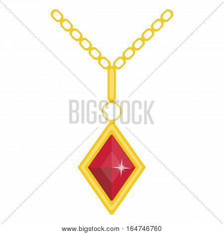 Precious jewelry. Gemstone and gold . Vector illustration of gold jewel. Precious accessory for women. Flat cartoon style