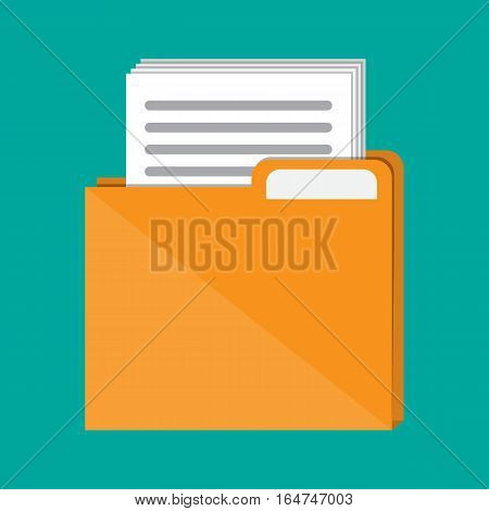 Orange documents folder with paper sheets. Vector illustration in flat style