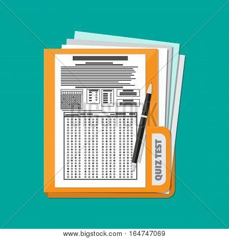 Folder with exam test answer sheet with pen. Flat style vector illustration