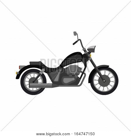 Chopper motorcycle in flat style. Vector illustration of black bike.