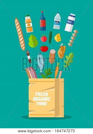 Fresh healthy produce and paper shopping bag. Organic natural products. Grocery. including meat fish, salad, bread, milk products. vector illustration