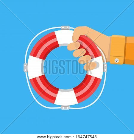hand with lifebuoy. support and assistance concept. vector illustration in flat style