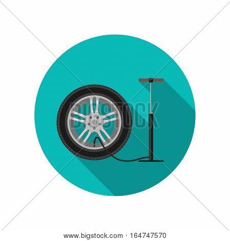 Tire service flat icon with long shadow. Vector simple illustration of tire and pump.