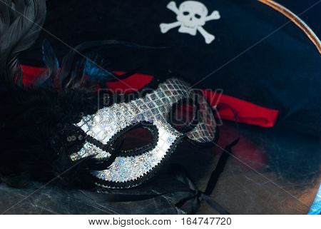 Venetian Mask With Black Feathers,