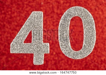 Number forty white color over a red background. Anniversary. Horizontal