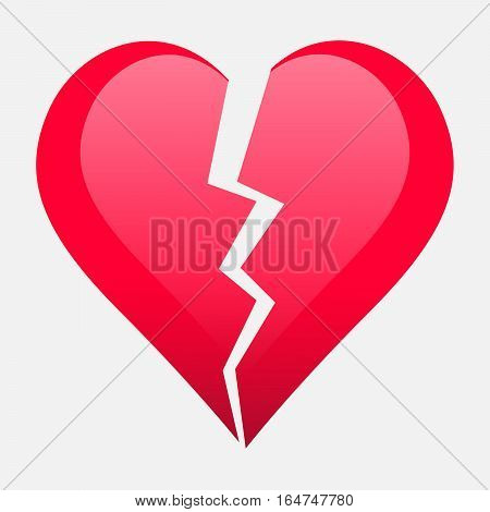 Two parts of broken heart. Valentine heart simbol. Wedding Vector heart sign. Hearts with beautiful decor