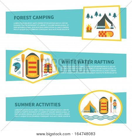 Modern set of horizontal web banners  for rafting, camping or other summer activities. Flat design. Colorful vector illustration with safety ring, tent, campfire, raft, map etc. For web design and advertisement