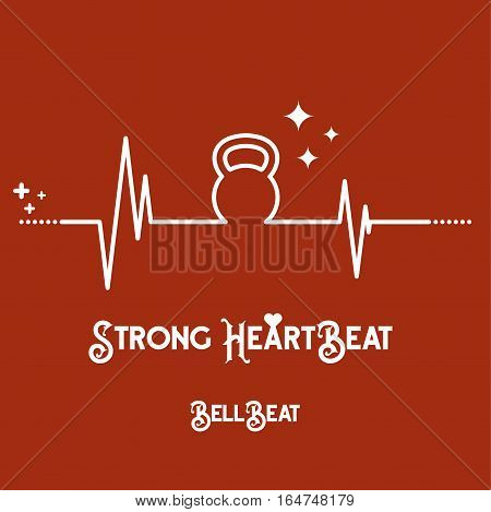 Vector EKG (heartbeat diagram) with shape of kettlebell on red background. Concept of expression healthy lifestyle.