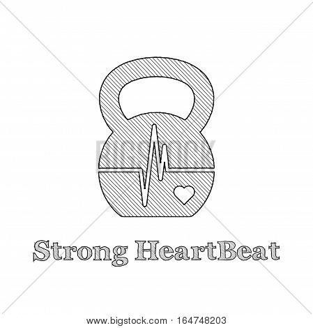 Vector kettlebell icon with shape of EKG (heartbeat diagram). Black pictogram with reflection on the white background. Sketch style illustration.