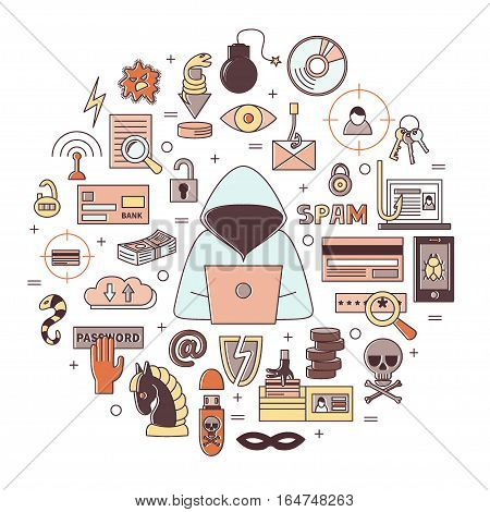 Hacking and cyber crime - Flat round vector template with icons of gadgets, hacker's activities, cracking and fraud, spam, viruses  etc. Illustration for hacker attack or computer security.