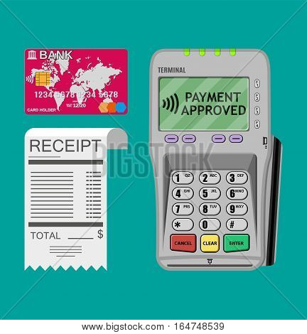 pos terminal, paper receipt and debit credit bank card. cashless payment. Vector illustration in flat design on blue background