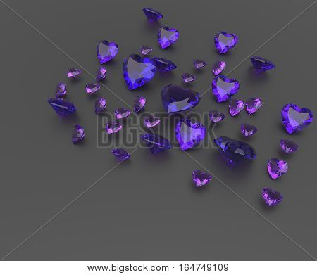 Background with purple gemstones. Fashionable and stylish accessories. 3D illustration