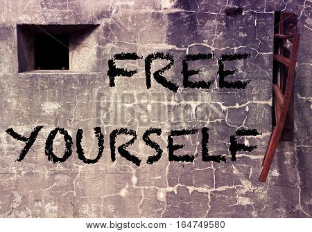 gray cement wall with the word Free Yourself