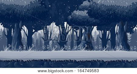 Seamless trees at night illustration, seamless nature background for game design, layered illustration for parallax effect