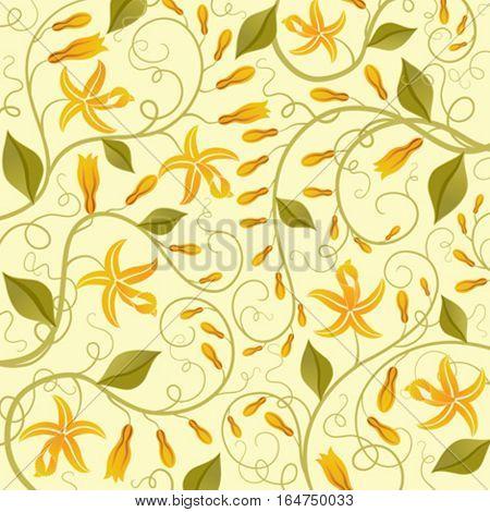 Vanilla. Floral background. Vector illustration.