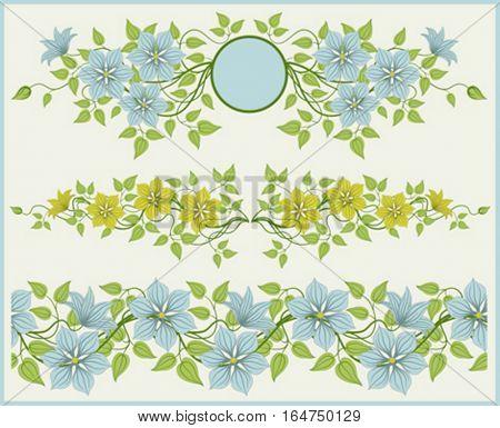 Floral frame and border. Vector illustration.