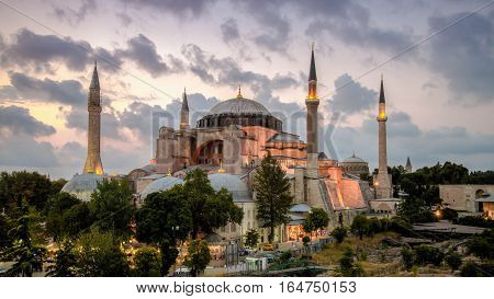 Istanbul, Turkey - 4 March, 2013: View of Hagia Sophia (Ayasofya), historic centre of Istanbul UNESCO World Heritage List, 1985, Turkey, 6th century.