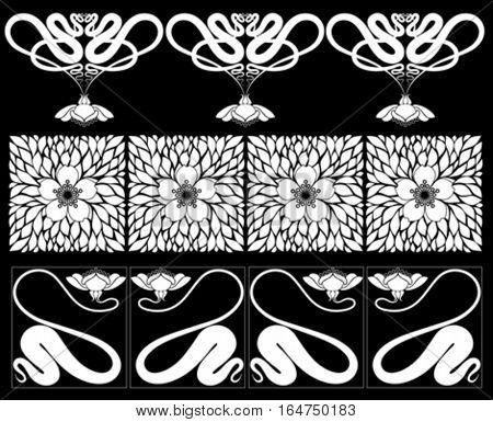 Floral  borders. Vector illustration.