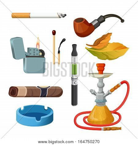 Things for smoking realistic colourful collection on white. Tobacco and smoking sketch set. Vector poster of cigarettes, cigars, hookahs, tobacco leaves, ceremonial pipe, lighter and ashtray.