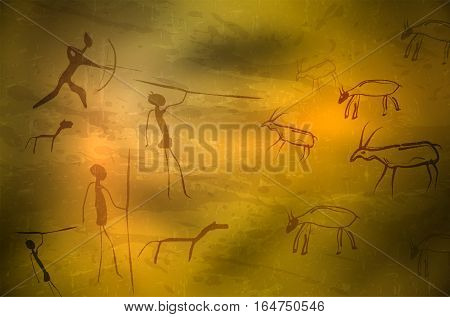 Stylized Drawing Of Prehistoric Hunters And Animals