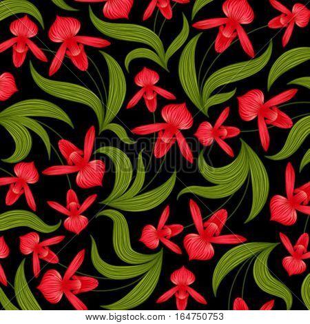 Orchids. Floral background. Vector illustration.