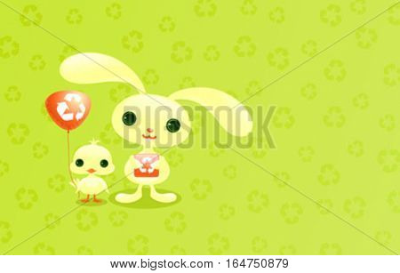 Cute baby animals. Recycling symbol card.