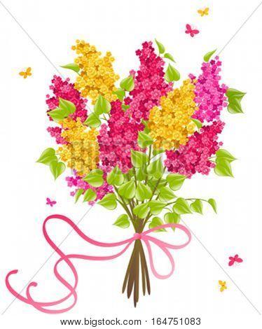Lilac. Floral background. Vector illustration.