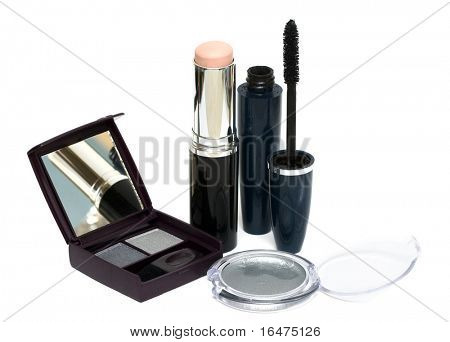silver set for make-up, eyeshadows, mascara and brush
