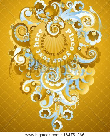 Sweet golden swirls. Vector illustration.