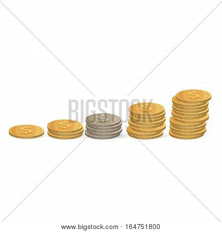 Coins ascending order isolated on white background. Silver and golden money in stack. Vector illustration of investments, increasing profit and achievement prosperity. Economic concept