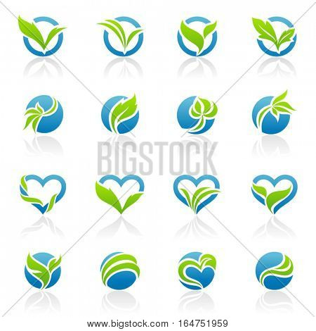 Leaves. Icons set. Vector illustration.