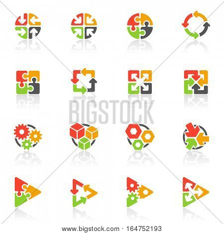 Abstract geometrical icons. Elements for design. Vector illustration.