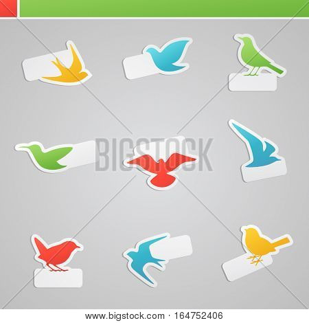 Set of multicolored birds with tags for some message. Vector illustration.