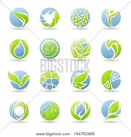 Drops and leaves. Vector elements for design.
