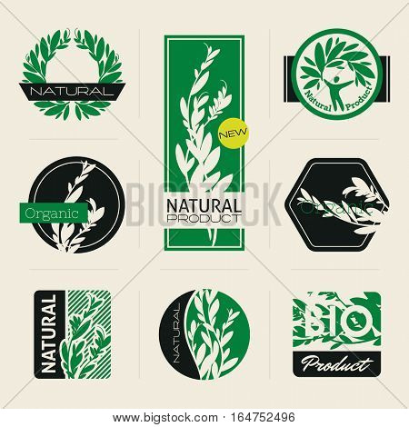 Nature-themed labels, banners and badges with green leaves. Vector design elements.