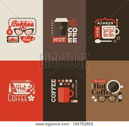 Hot coffee. Set design elements