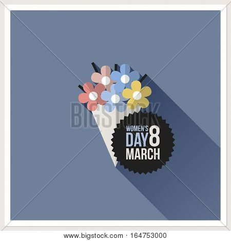 Flower bouquet. International Women??s Day card. Flat vector design with long shadow