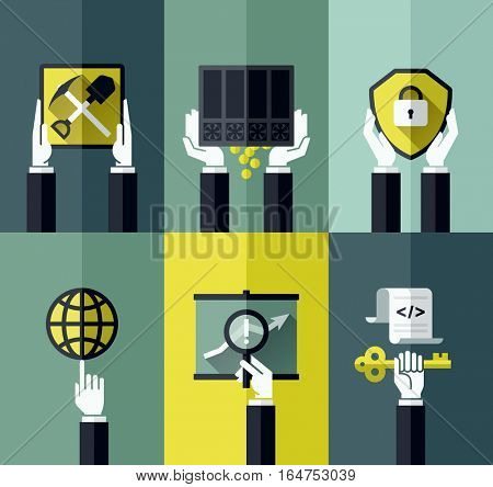 Modern flat vector design elements with hands holding digital currency symbols