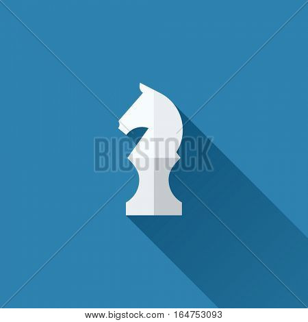 Modern flat vector chess knight icon with long shadow