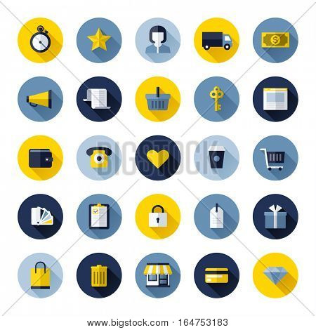 Modern flat vector icons set of online shopping and e-commerce for web design and mobile applications