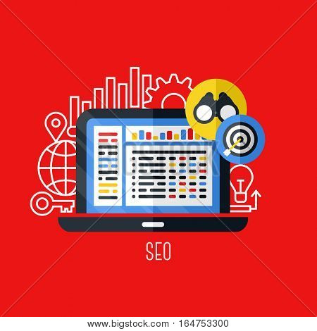 Flat vector concept of search engine optimization (SEO). Creative design elements for websites, mobile apps and printed materials