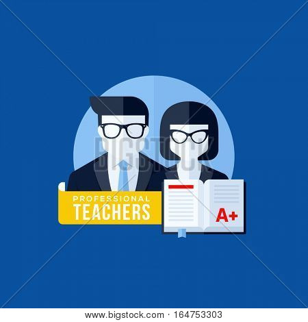 Flat vector concept of professional teachers. Educational elements for websites, mobile apps and printed materials