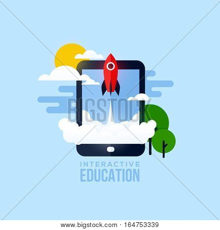 Flat vector concept of interactive education. Creative design elements for websites, mobile apps and printed materials
