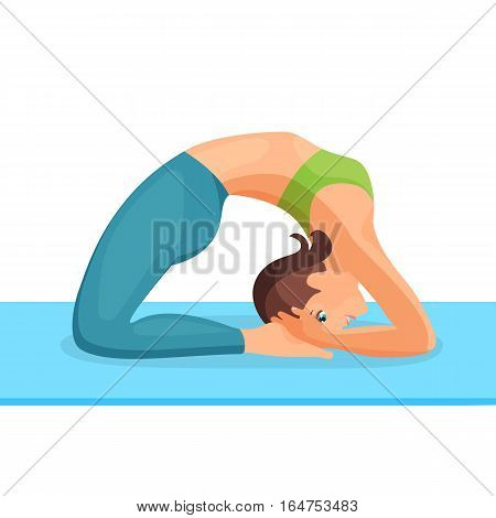 Girl in training clothes standing in bridge pose on blue special mat. Exercises for strengthening back and shoulders muscles. Vector illustration of isolated female person in good shape doing sports