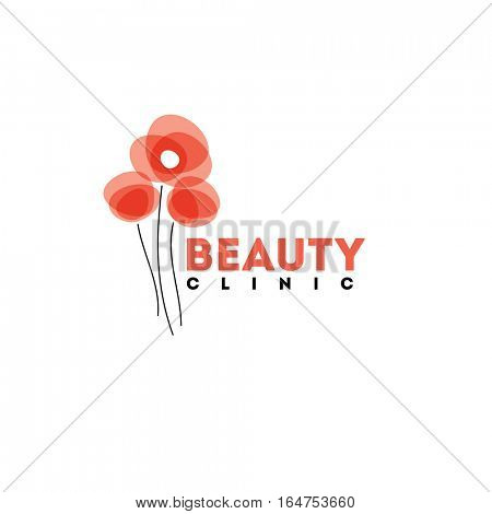 Beauty clinic logo design vector template. Red poppies icon