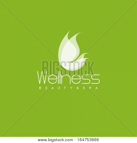 Wellness salon logo design vector template. White butterfly icon