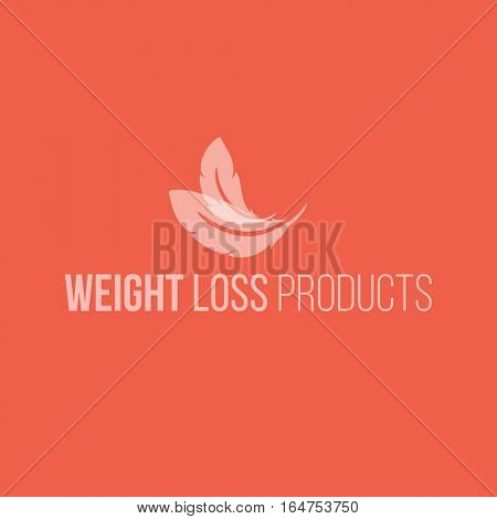 Weight loss product logo design vector template. Feathers icon