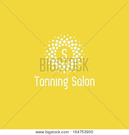 Tanning salon logo design vector template. Sun icon