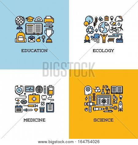 Flat line icons set of education, ecology, medicine, science. Creative design elements