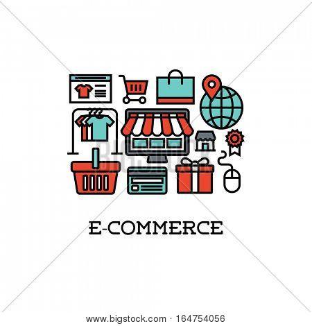 Flat line icons set of e-commerce. Creative design elements
